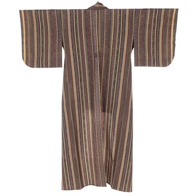 Striped Kikko, Kiku, and Hannabishi Block Print Kimono, Shōwa Period