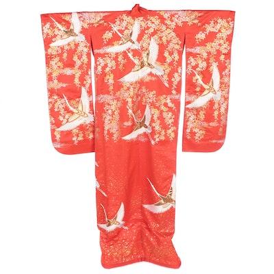 Embellished Floral Tsuru Uchikake Wedding Kimono