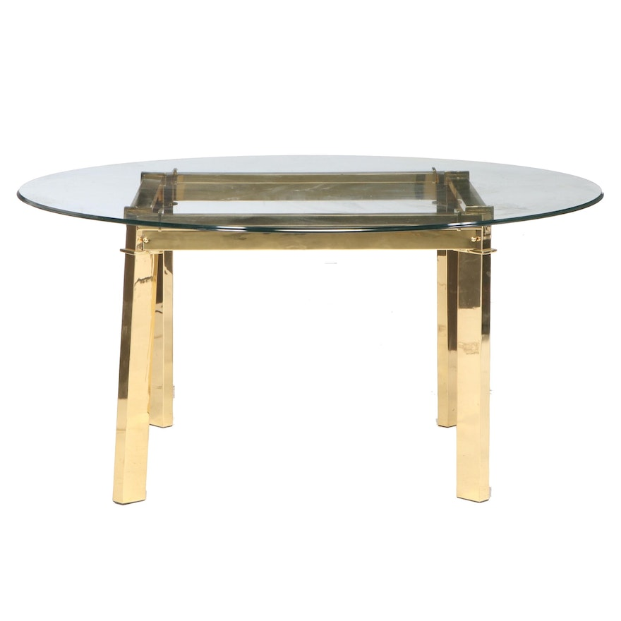 Contemporary Modern Gold Tone and Glass Top Breakfast Table