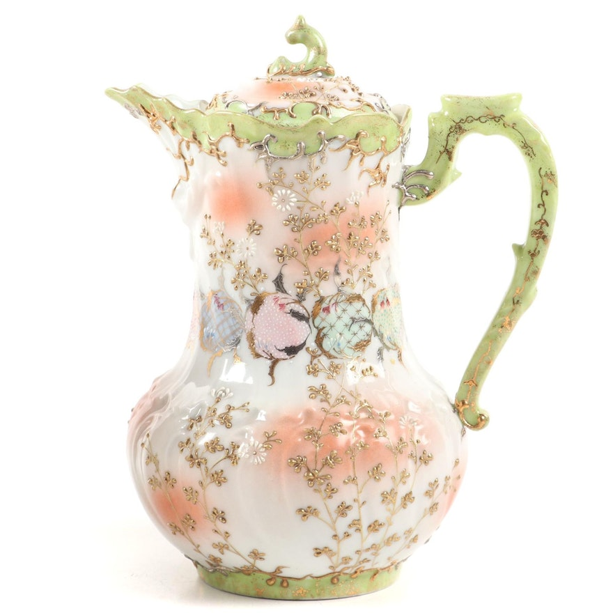 Austrian Hand-Painted Porcelain Chocolate Pot, Late 19th/Early 20th Century