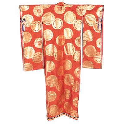 Sokutai Inspired Medallion Motif/Layered Sayagata Collar Uchikake, Shōwa Period