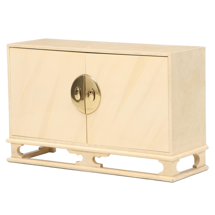 Modernist Brass-Mounted and Cream-Lacquered Chinoiserie Credenza