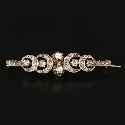 Late Georgian 14K Diamond Crescent Pattern Bar Brooch with Sterling Top