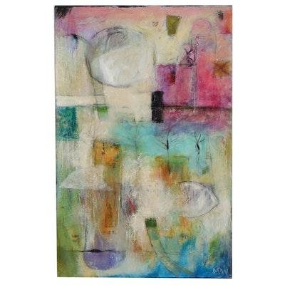"Paula Wiggins Mixed Media Painting ""The Rising Moon"""