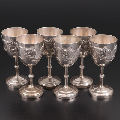 Chinese Export Sterling Silver Dragon Cordials