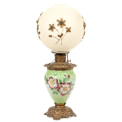 Victorian Hand-Painted and Gilt Decorated Glass Converted Oil Parlor Lamp