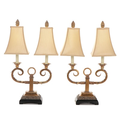 Uttermost Antiqued Gilt Metal Two-Armed Table Lamps