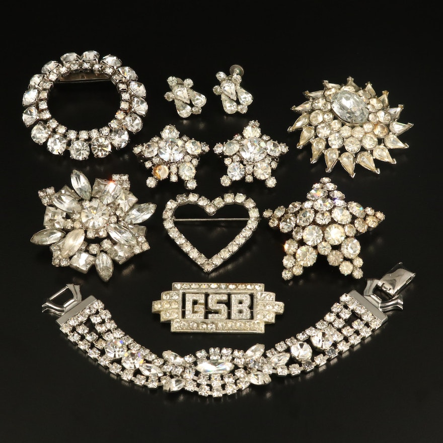 Vintage Rhinestone Jewelry Featuring Weiss Bracelet and Karu Arké Star Brooches