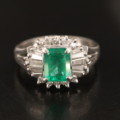 Platinum 1.09 CT Emerald and Diamond Ring