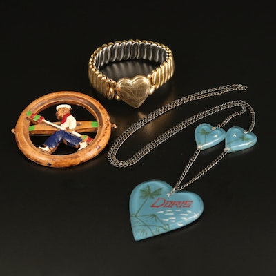 1940s S.O. Bigney Sweetheart Bracelet and Heart Necklace with Wood Sailor Brooch