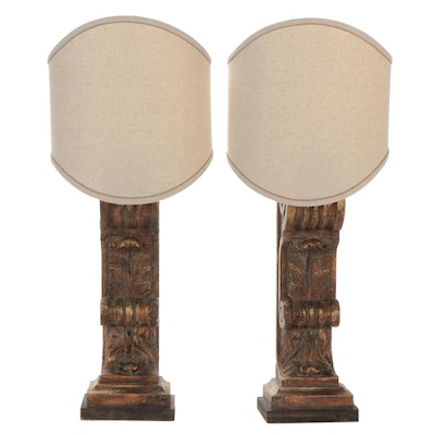 Carved Wood Pilaster Column Wall Lamps