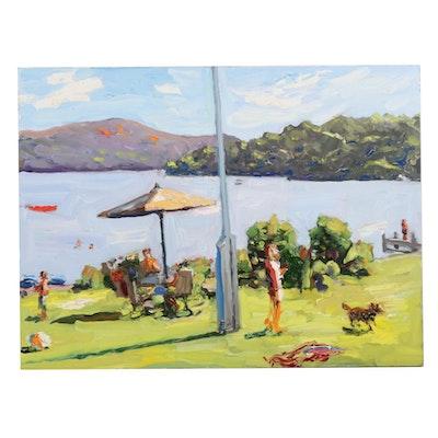"Stephen Hankin Impasto Oil Painting ""Picnic at Lake George,"" 2017"