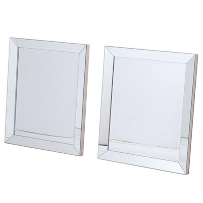 Pair of Contemporary Beveled Glass Mirrors
