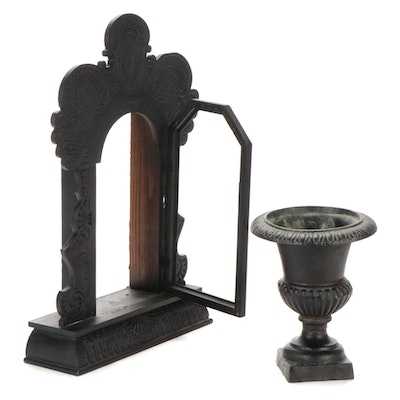 Wood Mantel Clock Case and Iron Urn