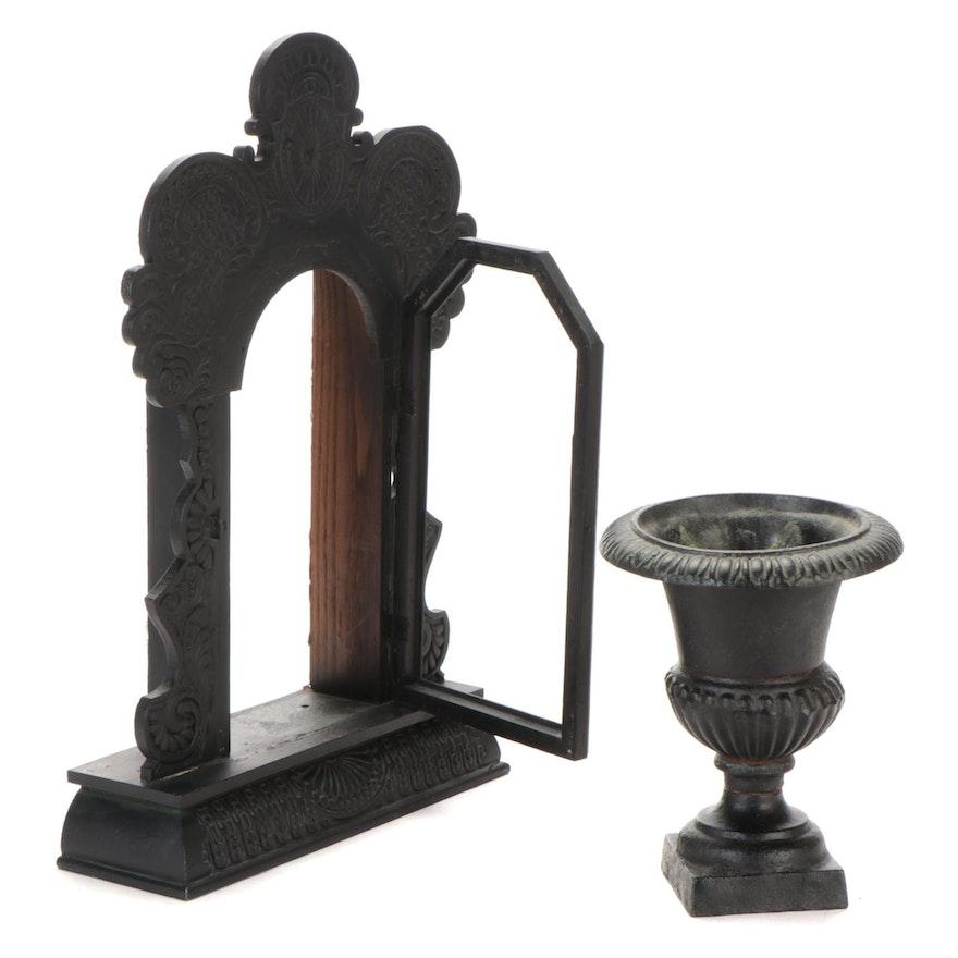 Wood Mantel Clock Case and Iron Urn