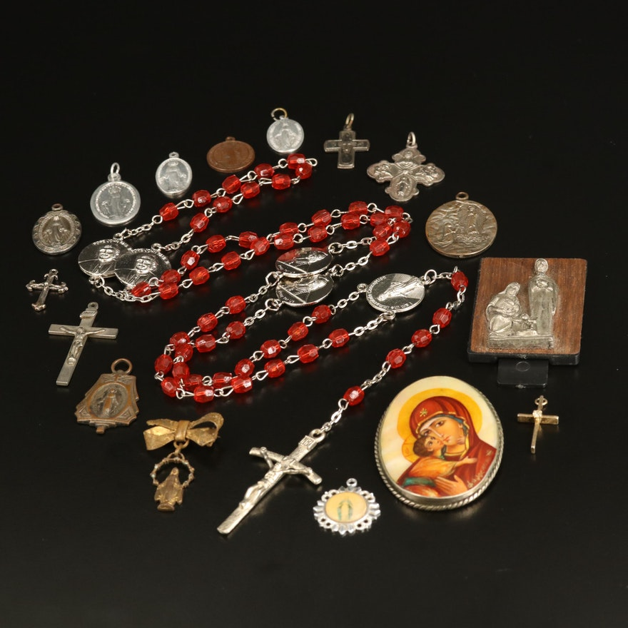 Religious Jewelry Selection Including Signed Brooch and Cross Charms