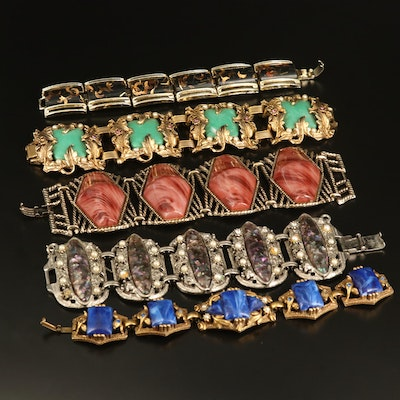 Vintage Faux Pearl and Art Glass Bracelet Selection