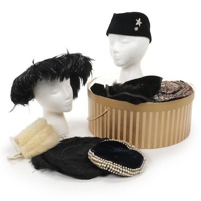 Lynn Brooke Mink Fascinator, Velvet and Beaded Pillbox Hat and More Vintage Hats