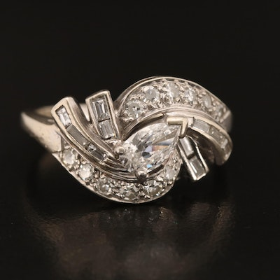 Retro 14K 1.21 CTW Diamond Swirled Cluster Ring