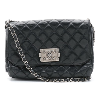 Chanel Single Flap Boy Bag in Black Quilted Aged Calfskin Leather