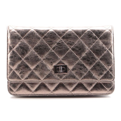 Chanel Quilted Reissue Wallet on Chain in Metallic Bronze Aged Leather
