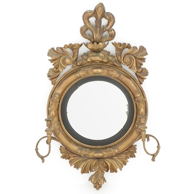 Rococo Revival Gesso on Wood Convex Mirror with Candle Holders, Late 19th C