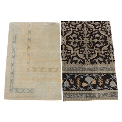 1'10 x 3'0 Hand-Knotted Nepalese Wool and Silk Accent Rugs from The Rug Gallery