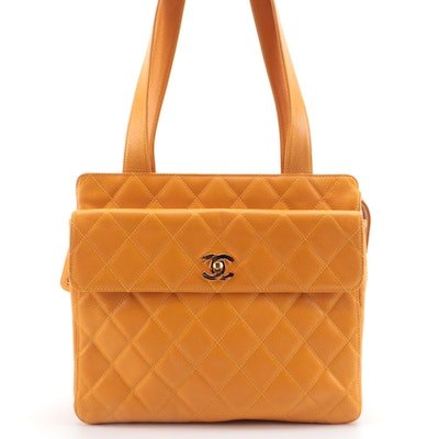 Chanel Yellow CC Camera Tote in Caviar Leather