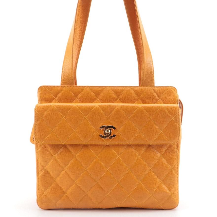 Chanel Yellow CC Camera Tote in Caviar Leather