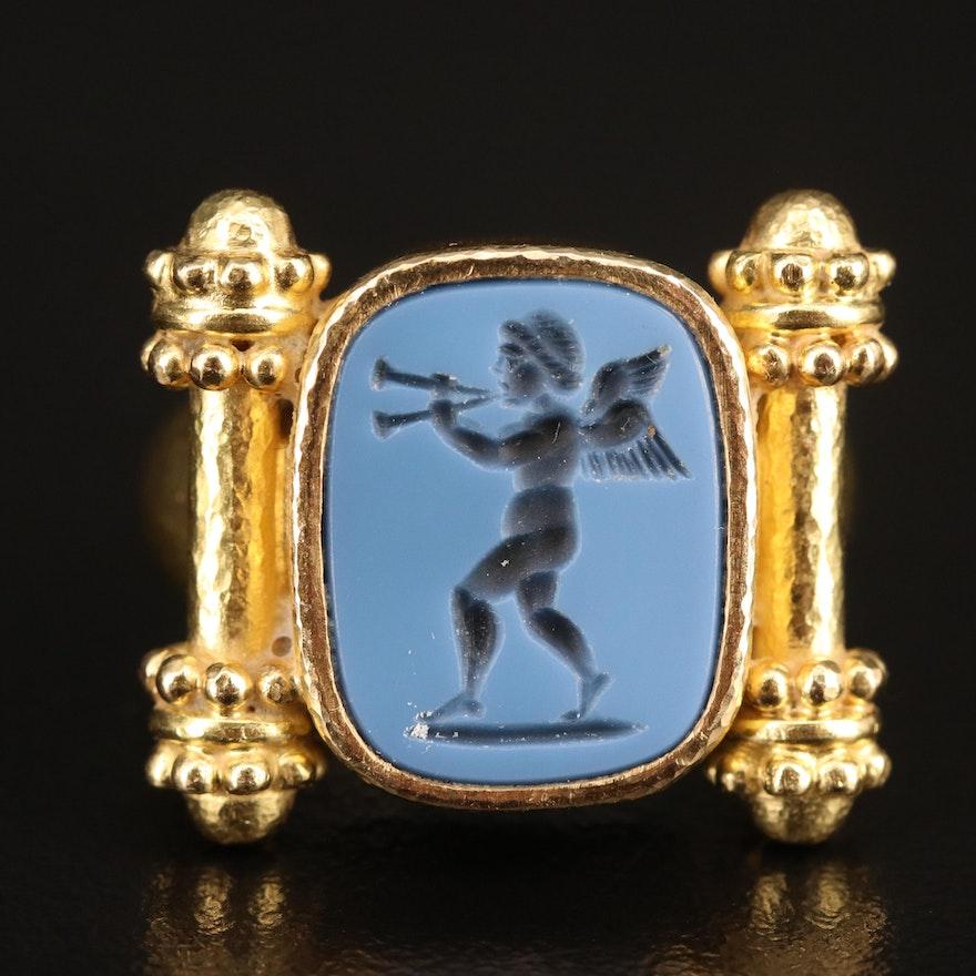 Etruscan Style 18K Onyx Cherub Intaglio Ring