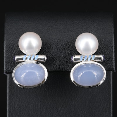 Sterling Silver Chalcedony, Pearl and Enamel Earrings