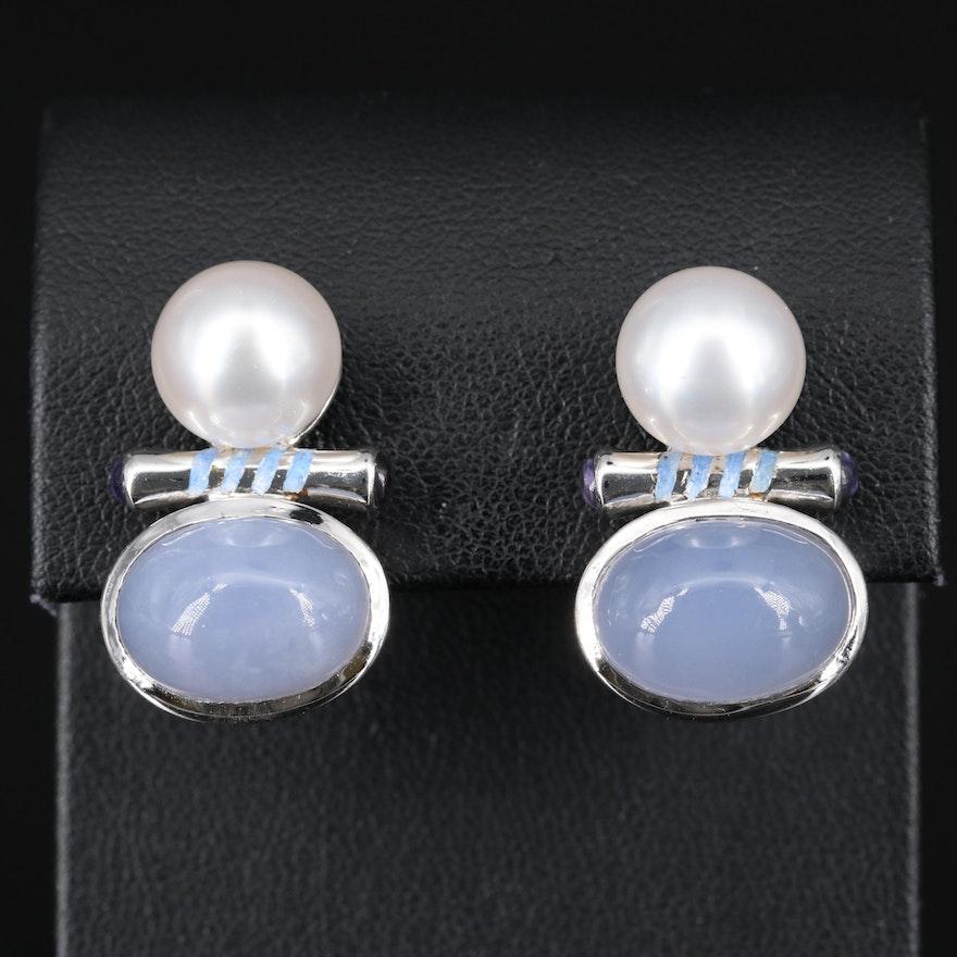 Sterling Silver Chalcedony, Pearl and Enamel Earrings