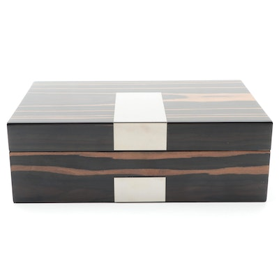 Bey-Berk Lacquered Ebony Wood Veneer Jewelry Box in Original Packaging