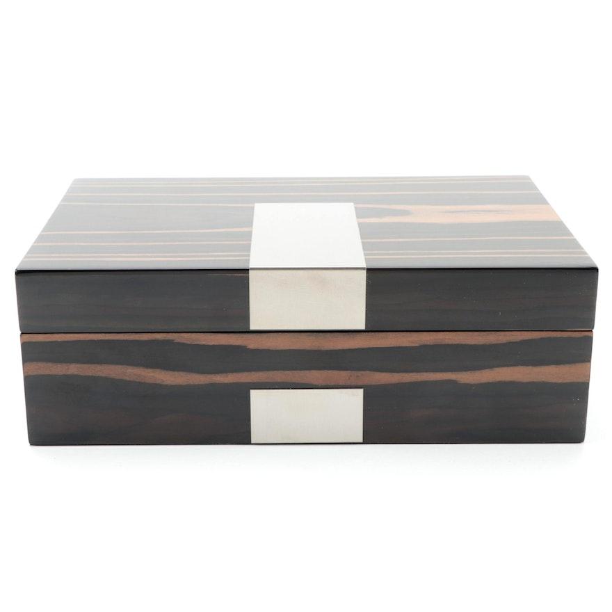 Bey-Berk Lacquered Ebony Wood Veneer Jewelry Box in Original Packaging
