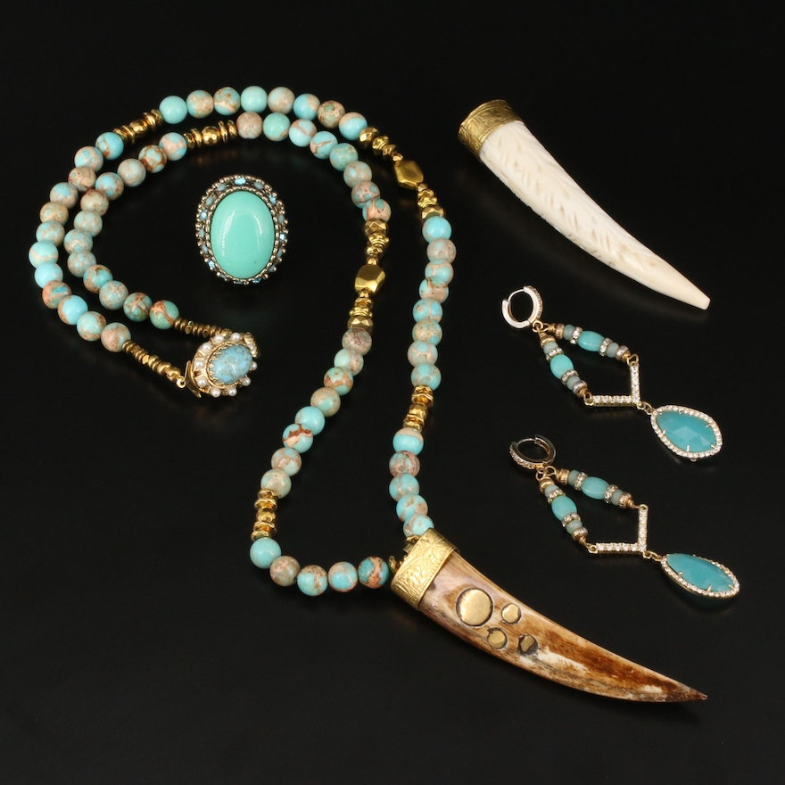 Necklace, Earrings, Ring and Pendant Featuring Turquoise, Bone and Antler