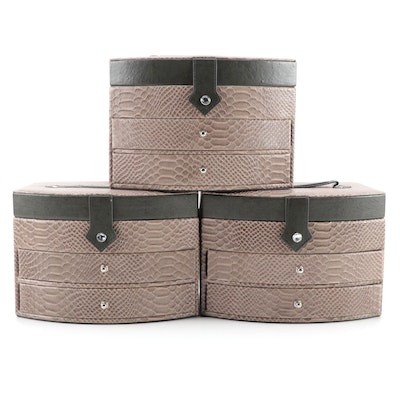 Gem Pak Taupe Embossed Reptile Faux Leather Jewelry Cases