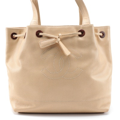 Chanel CC Drawstring Tote in Ecru Crumbled Caviar Leather