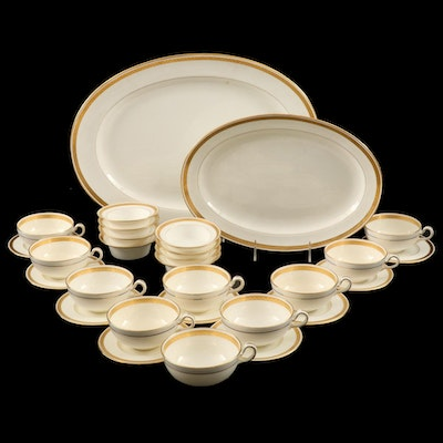 Minton English China Gold Encrusted Dinner and Serveware, Antique