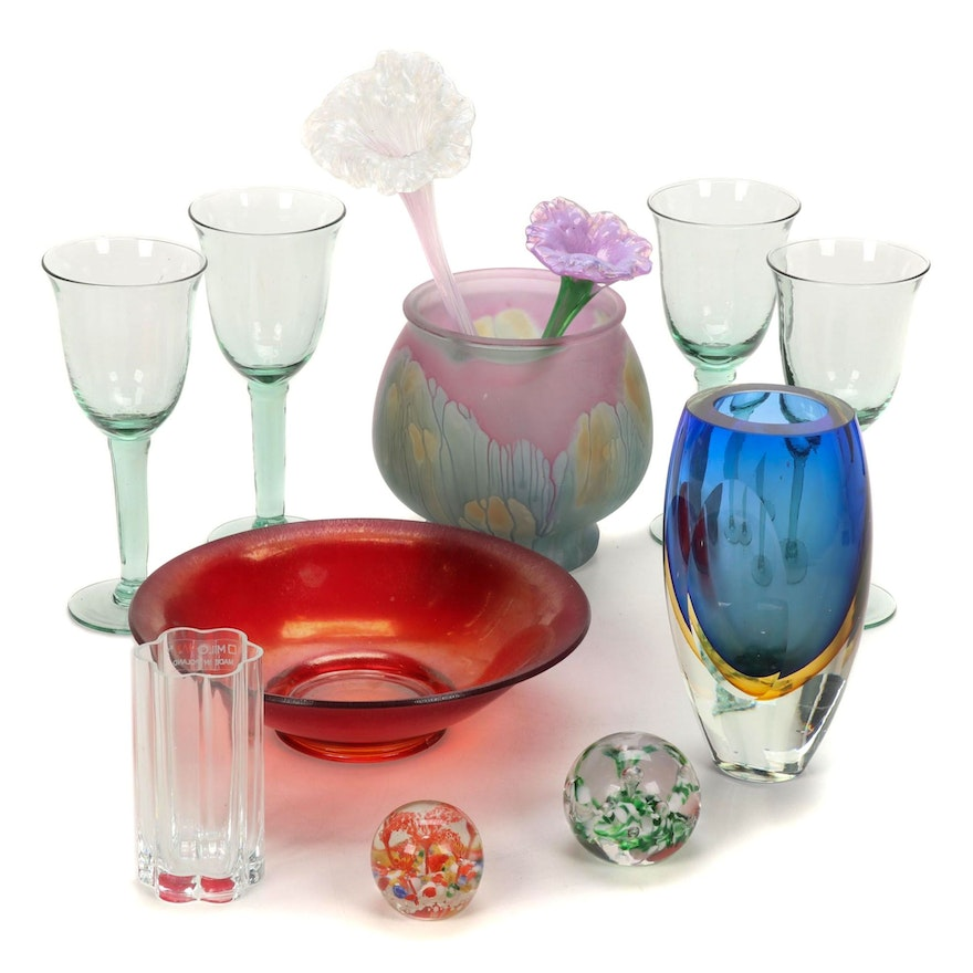 Colored Art Glass Vases, Goblets, Paper Weights and Other Accessories