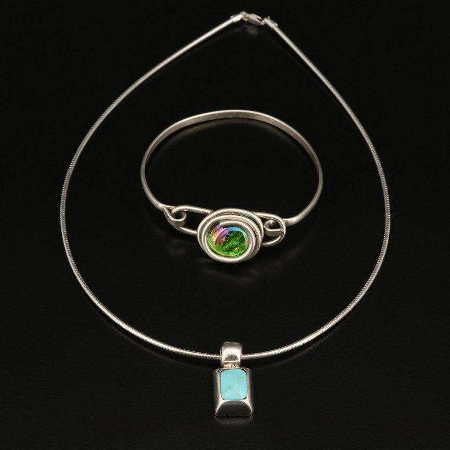 Sterling Silver Turquoise Pendant Necklace with Glass Bangle