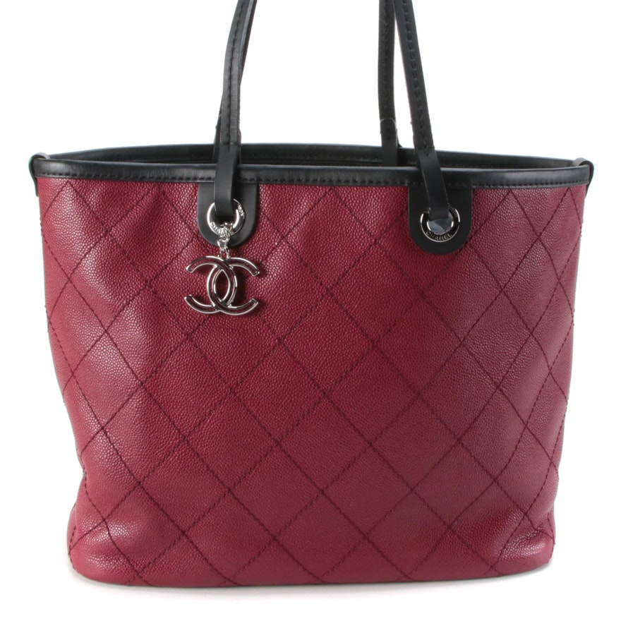 Chanel Fever Tote in Red Caviar Leather with Black Leather Trim and Pouch