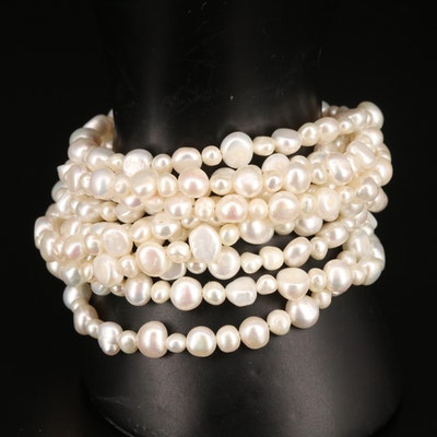 Pearl Multi-Strand Bracelet with Sterling Clasp