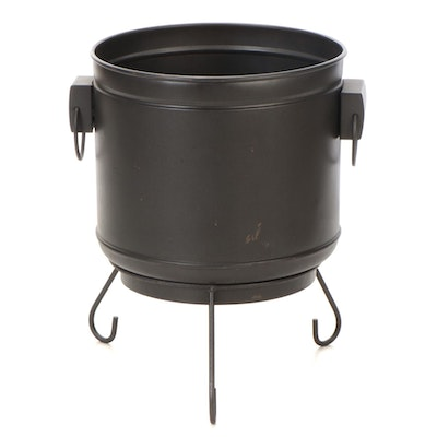Galvanized Metal Cauldron Bucket with Stand, Contemporary