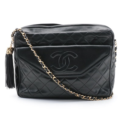 Chanel Quilted CC Stitch Camera Tassel Bag in Black Lambskin Leather