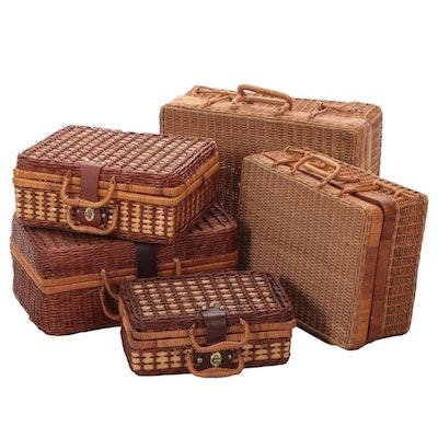 Woven Wicker Luggage Shape Baskets
