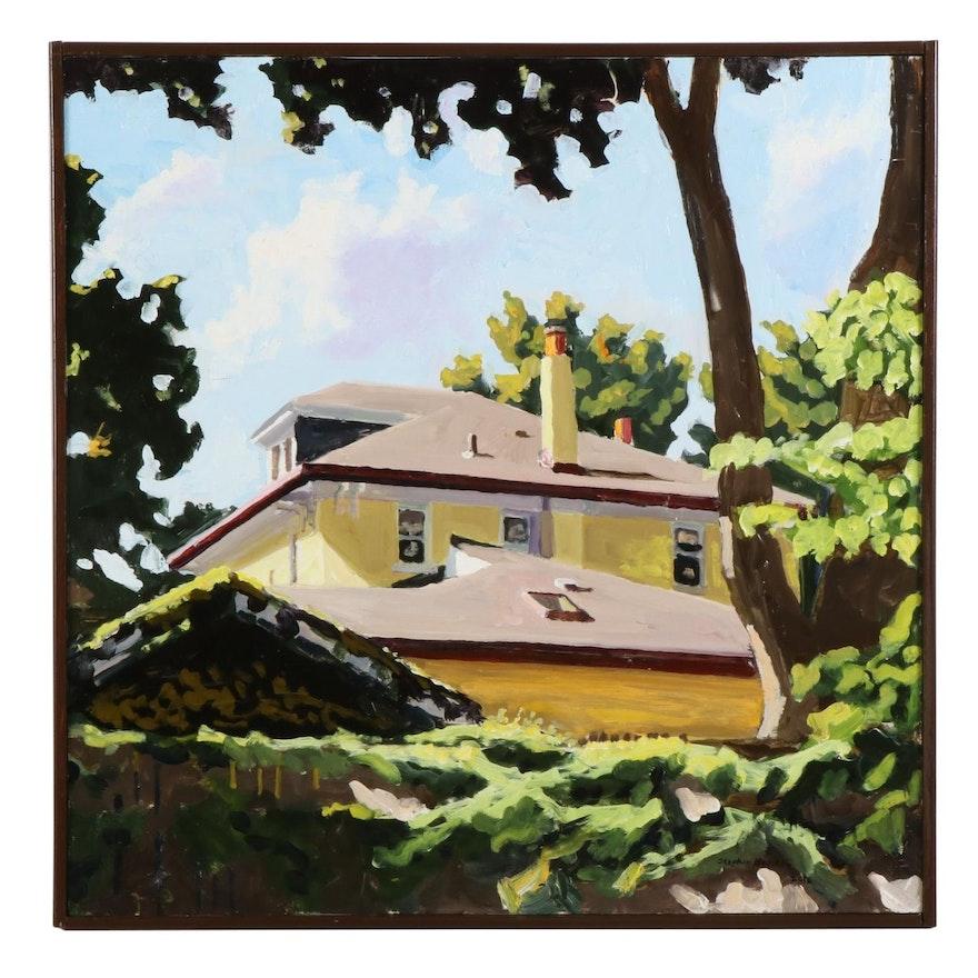 """Stephen Hankin Oil Painting """"Yellow House on Murtland,"""" 2016"""
