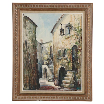 Lucien Delarue Street Scene Watercolor Painting