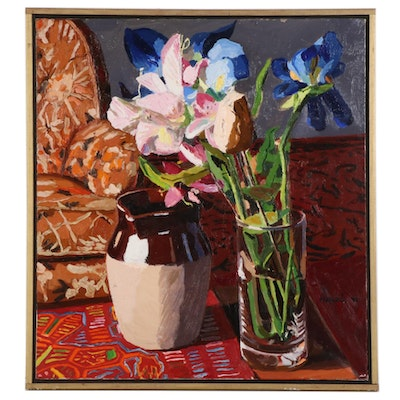 "Stephen Hankin Oil Painting ""Still Life With Crock, Glass Vase, and Flowers"""