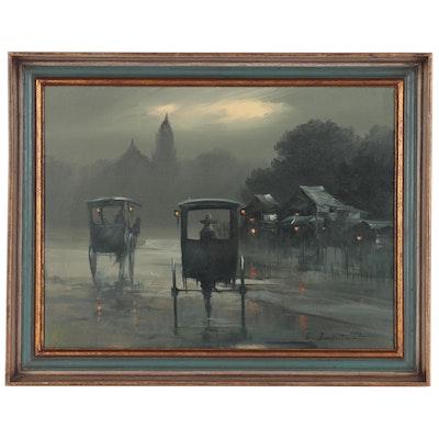 Cesar Buenaventura y Espinosa Foggy Nighttime Scene Oil Painting, 1972
