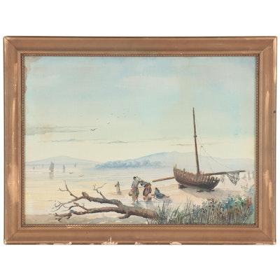 Federico Fernandez Gimenez Beach Scene Watercolor Painting